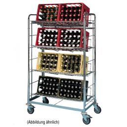 Getränkewagen für 4 Kisten / fahrbar / Auflagerost 940 x 390 mm