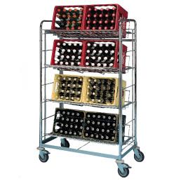 Getränkewagen für 8 Kisten / fahrbar / Auflagerost 940 x 390 mm
