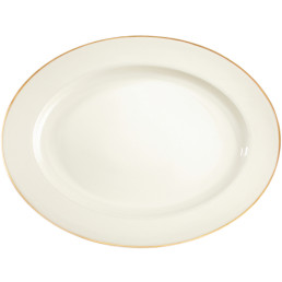 Diamant, Platte oval 387 x 309 mm creme mit Goldlinie