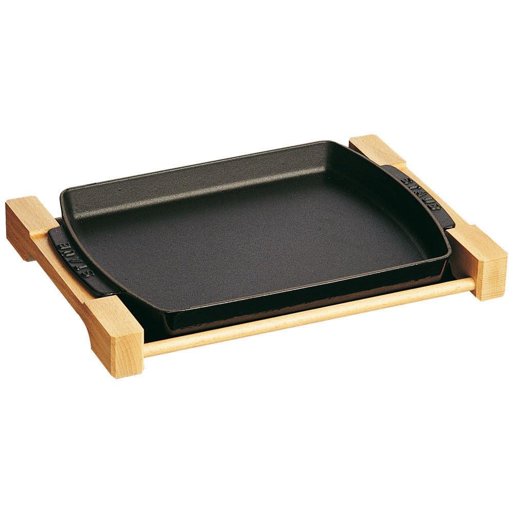 Auflaufform rechteckig mit Holzunterlage 330 x 230 mm schwarz