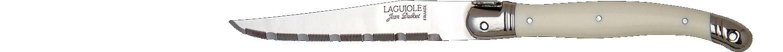 Laguiole Knives, Steakmesser Kunststoffgriff White geriffelte Schneide