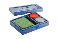 Hochisolierter Wärmesafe mit Besteckfach 430 x 325 x 115 mm / blau