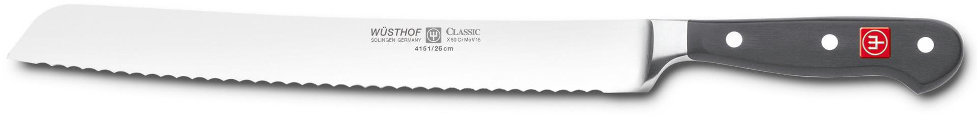 Classic, Brotmesser Klingenlänge 260 mm / 390 mm lang Wellenschliff