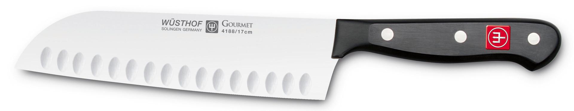 Gourmet, Santoku Klingenlänge 170 mm / 310 mm lang mit Kullenschliff